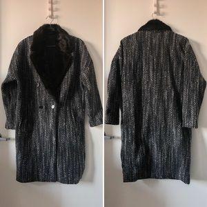 H&M fur wool full body length trench coat